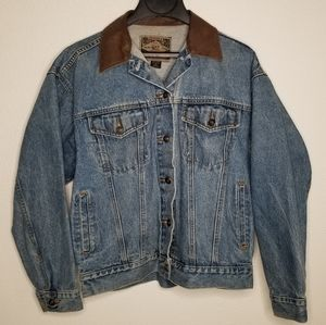 Denim jacket with leather collar